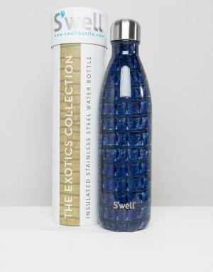 S'well Темно-синяя бутылка объемом 750 мл с крокодиловым принтом Swell. Цвет: темно-синий
