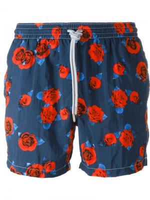 Плавательные шорты с принтом роз Capricode. Цвет: синий