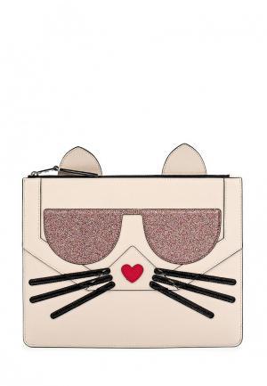 Чехол для IPhone Karl Lagerfeld. Цвет: бежевый