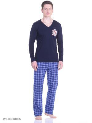 Пижама мужская (джемпер, брюки) MARSOFINA. Цвет: синий