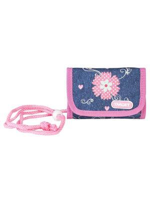 Детский кошелек Джинсовые цветы Target. Цвет: синий, розовый