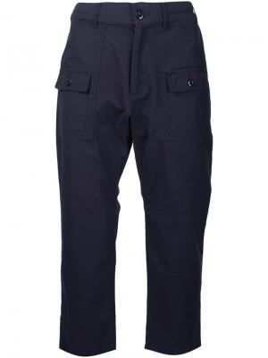 Укороченные брюки с передними карманами Battenwear. Цвет: синий