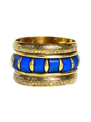 Набор 5 браслетов из кости и латуни Indira. Цвет: синий