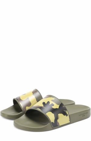 Резиновые шлепанцы с камуфляжным принтом Givenchy. Цвет: хаки