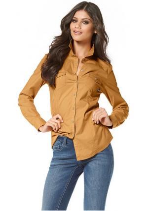 Джинсовая рубашка Arizona. Цвет: белый, зеленый, карри, коричневый, королевский синий, лососевый, серо-коричневый, темно-синий