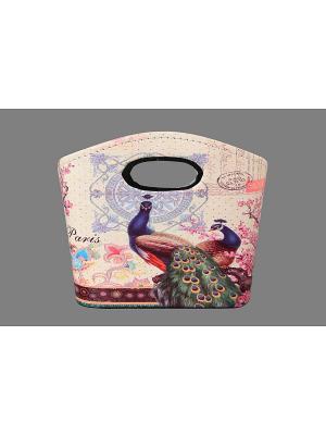 Сумочка интерьерная для хранения Павлины EL CASA. Цвет: бежевый, розовый, синий, коричневый