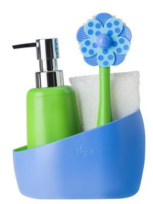 Набор: щетка для посуды, дозатор, губка на подставке VIGAR. Цвет: зеленый, голубой