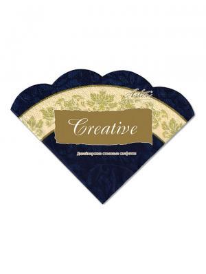 Салфетки Creative round 32х32 см, Синяя с каймой, 3-слойные, 12 шт./уп Aster. Цвет: бежевый, золотистый, темно-синий