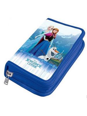 Пенал 1 отделение средний Disney Frozen без наполнения. Цвет: синий