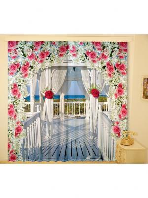 Комплект шторы,  Аделаида 150*270 (2) + тюль МарТекс. Цвет: синий, зеленый, розовый