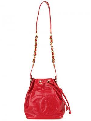 Сумка-мешок с тисненым логотипом Chanel Vintage. Цвет: красный
