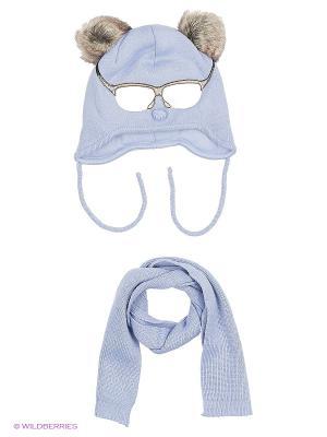 Шапка и шарф Ambra. Цвет: голубой