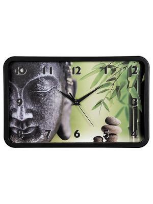 Часы настенные аналоговые  Buddha Bamboo HAMA. Цвет: черный