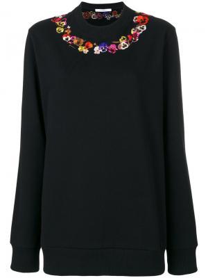 Толстовка с вышитыми маками Givenchy. Цвет: чёрный