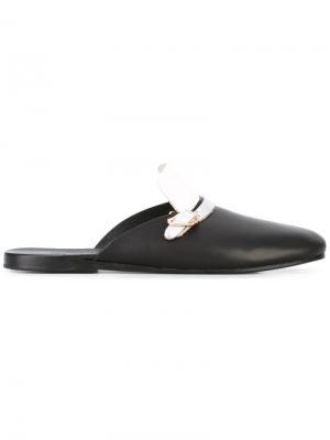 Metallic strap mules Ancient Greek Sandals. Цвет: чёрный