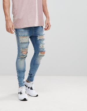 SikSilk Рваные обтягивающие джинсы с заниженным шаговым швом. Цвет: синий