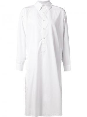 Длинное платье-рубашка свободного кроя Liwan. Цвет: белый