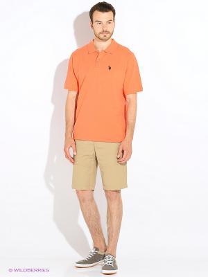 Футболка-поло U.S. Polo Assn.. Цвет: оранжевый, персиковый