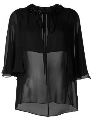 Декорированная  блузка Elie Saab. Цвет: чёрный