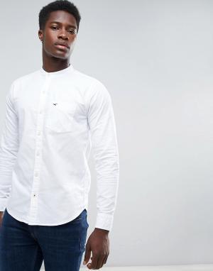 Hollister Белая оксфордская рубашка узкого кроя с воротником-стойкой. Цвет: белый