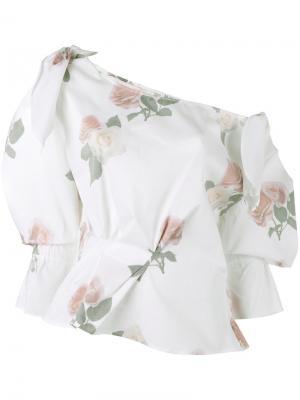 Топ с открытыми плечами и цветочным принтом Michelle Rejina Pyo. Цвет: белый