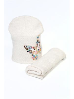 Комплект шапка и снуд Mitya Veselkov. Цвет: бежевый
