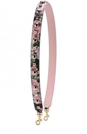 Кожаный ремень для сумки с аппликациями Dolce & Gabbana. Цвет: черный
