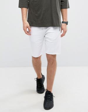 ASOS Белые трикотажные шорты скинни с молниями. Цвет: белый