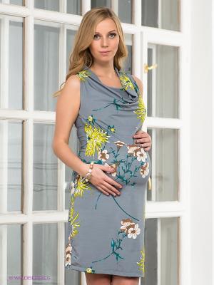 Платье I love mum. Цвет: серый, желтый, бирюзовый