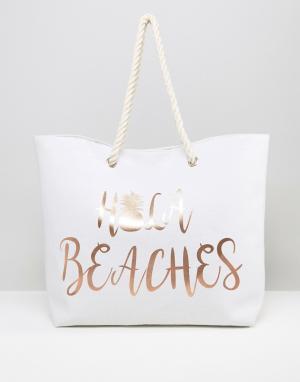South Beach Пляжная сумка с золотистым принтом Hola Beaches. Цвет: золотой