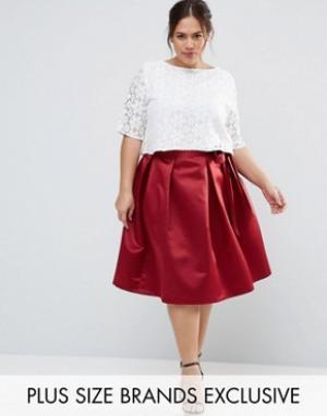 Closet Plus Сатиновая юбка миди с бантиком Duchess. Цвет: красный
