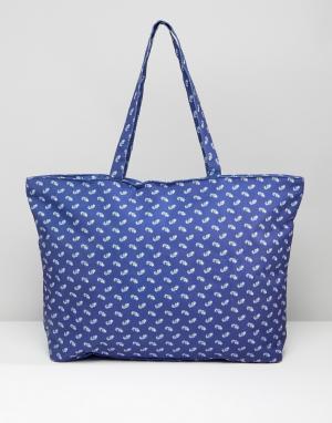 7X Дорожная сумка с принтом пейсли. Цвет: синий