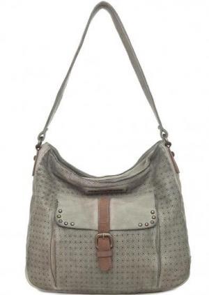 Серая кожаная сумка с металлическим декором Taschendieb. Цвет: серый