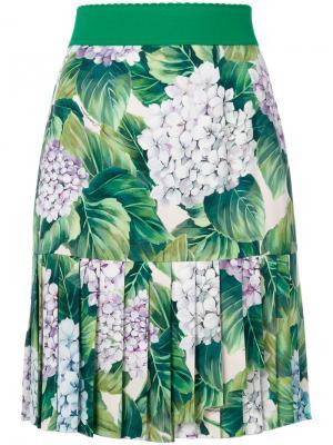 Мини-юбка с приллированным подолом и принтом гортензий Dolce & Gabbana. Цвет: многоцветный