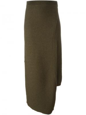 Асимметричная юбка в рубчик J.W.Anderson. Цвет: зелёный