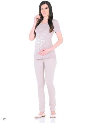 Брюки для беременных EUROMAMA. Цвет: бежевый
