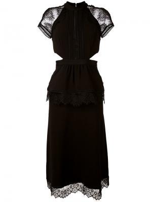 Платье длины миди с вырезами Self-Portrait. Цвет: чёрный