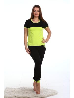 Спортивный костюм-футболка и брюки на манжетах NAGOTEX. Цвет: черный, зеленый