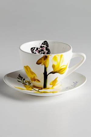 Чашка с блюдцем 0,4 л Лето Ceramiche Viva. Цвет: мультиколор