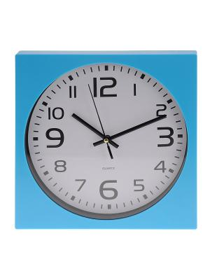 Часы настенные Арабские цифры в голубой оправе квадратные (25 см) NAST246 Mitya Veselkov. Цвет: голубой