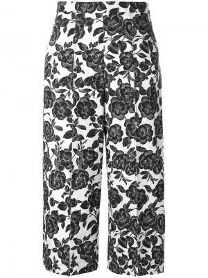 Укороченные брюки с цветочным рисунком MSGM. Цвет: чёрный