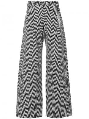 Расклешенные брюки с узором шеврон House Of Holland. Цвет: чёрный