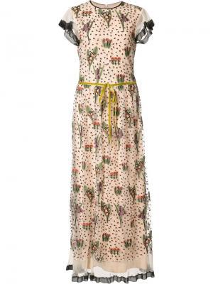Длинное платье с вышитым цветочным узором Red Valentino. Цвет: телесный