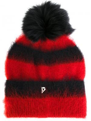 Пушистая шапка бини Dondup. Цвет: красный