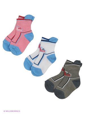 Носки - 3 пары Гамма. Цвет: белый, серый, розовый