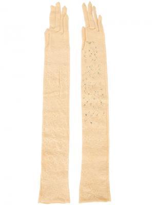 Декорированные удлиненные перчатки Wolford. Цвет: телесный