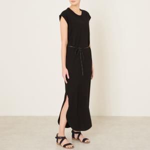 Платье длинное с поясом MAISON SCOTCH. Цвет: экрю/черный