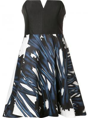 Расклешенное платье без бретелек Halston Heritage. Цвет: чёрный