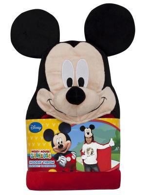 Плед с капюшоном Mickey Mouse (Микки Маус), размер 100х100 см Disney. Цвет: черный,бежевый,красный