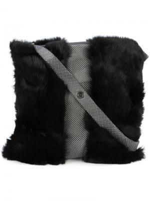 Сумка на плечо из кроличьего меха Laura B. Цвет: чёрный